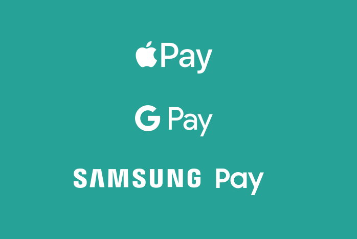 Logotipo de Google Pay, Apple Pay y Samsung Pay